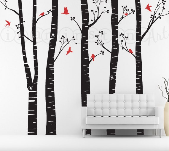 Birch Tree Decal with Flying Birds, Birch Trees, Birch Forest, Birch Trees Wall Vinyl for Nursery, Living Room, Kids or Childrens Room 020