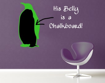 Chalkboard penguin decal- Medium size penguin with chalkboard tummy