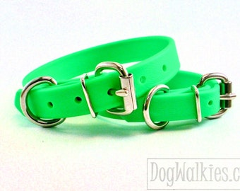 "Bright Apple Lime Green 3/4"" (19mm) Wide Beta Biothane Dog Collar - Leather Look and Feel - Custom - Stainless Steel or Solid Brass Hardware"