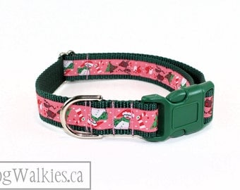 "North Pole Fun Christmas Dog Collar - 1"" (25mm) Wide - Choice of collar style and size - Martingale dog collar or Quick Release Buckle"