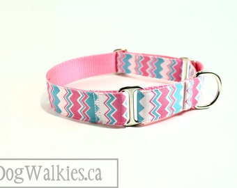 """Aqua Bubblegum Chevron - Zig Zag - Dog Collar - 1"""" (25mm) wide - Choice of style and size - Martingale or Side Release Buckle"""