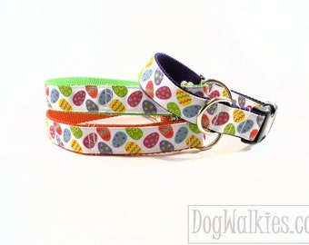 "Easter Dog Collar - 1"" (25mm) Wide - Bright Easter Eggs - your choice of color, size and style - Lime Green, Orange, Purple"