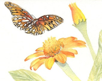 Butterfly painting 5x8 original watercolor painting, Butterflies, nature art & collectibles  earthspalette