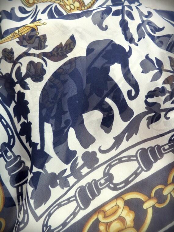 Vintage designer Impressions navy, gold, and white elephant semi sheer scarf