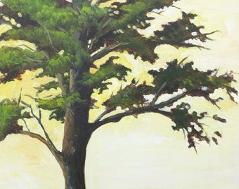 "Medium, Cyprus Tree, Original Acrylic on Panel, 18""x 24"""
