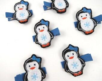 Penguin Hair Clip - Christmas Hair Clip - Felt Hair Clip -  Holiday Hair Clip - Small Hair Clip - Hair Clippie - Feltie Clip - Hair Clips