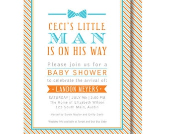 Bow Tie Baby Shower Invitations, Little Man Invitation, Little Gentleman, Printed or Printable