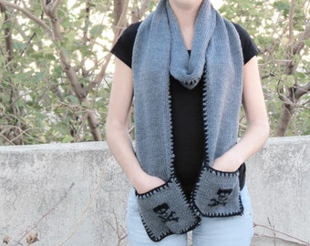 Knitted Scarf with Pockets - SCARVES - Skull Accessories, Teens, Adults, Girly Scarf, Knitted Pockets Scarf for Her, Skull Scarf, Gray skull