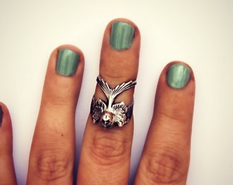 knuckle ring silver bird, midi ring, bird ring, silver knuckle ring, unique ring
