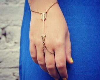 arrow slave bracelet, arrow hand chain, arrowhead bracelet, bracelet ring, ring bracelet, tribal bracelet