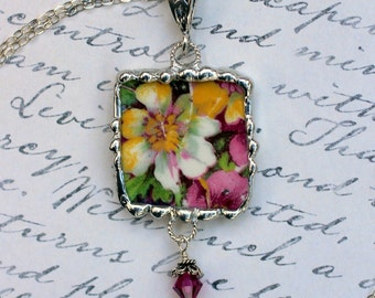 Necklace, Broken China Jewelry, Broken China Necklace, Floral Chintz, Sterling Silver, Soldered Jewelry