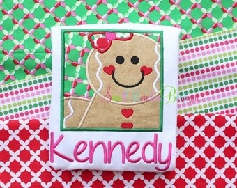 Girl Gingerbread Box Embroidered Shirt - Christmas Shirt - Gingerbread Shirt - Girls Christmas Shirt - Holiday - Gingerbread - Christmas