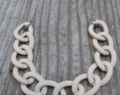 simple matte WHITE rubber coated bold chain necklace
