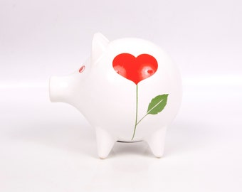 Vintage Piggy Bank Waechtersbach Red Heart Design Porcelain Figurine Spain Ceramic Farmhouse Pig Coin Bank