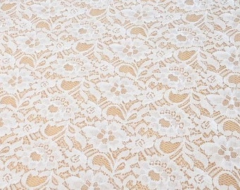One Yard,Off White Lace,Fabric,Embroidery,Wedding, off white Color,Cotton lace fabirc (W72)