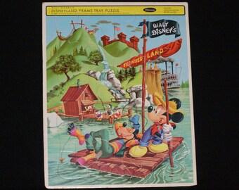 Vintage Walt Disney's Disneyland Frame Tray Puzzle 4505 Frontier Land Mickey Goofy Duck great condition