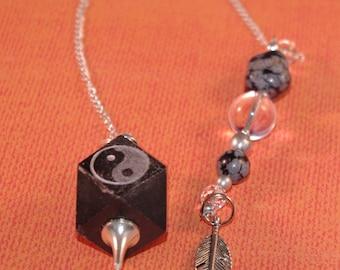 Gemstone Dowsing Pendulum OOAK Onyx YinYang Feather New Age Magick Metaphysical, Wicca Pagan 135933P
