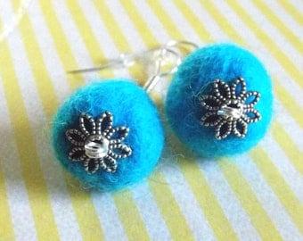 SALE Felt Jewelry Earrings Felt Ball Earrings Eco Friendly Aqua Blue Felted Wool Earrings