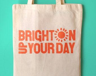 Brighton Tote Bag, Brighton Canvas bag, Typography bag, Brighton Design bag, Sunny tote bag, Beach bag, Brighton shopping bag, Fun bag