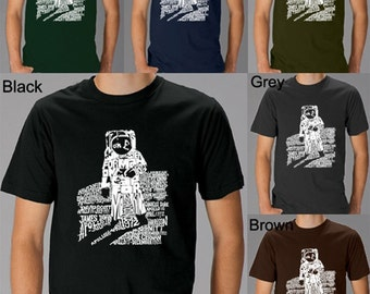 """Men's T-shirt - Created using the quote """"That's one small step for a man, a giant leap for mankind"""