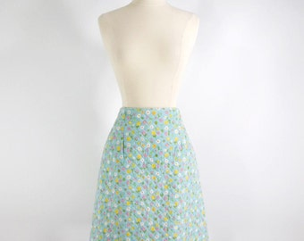 Vintage 60s Skirt A Line in Aqua Blue Quilted Floral - sm