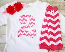 """Hot Pink Chevron Birthday """"2"""" Outfit for Girls 2nd Birthday - 2nd Birthday Outfit - Hot Pink and White Chevron"""