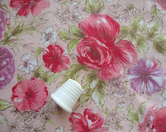 pretty pink floral print vintage cotton fabric -- 36 wide by 1 1/2 yards plus