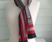 Vintage Scarf, Vintage Black Red and Grey Scarf, Vintage Geometric Scarf, Long Rectangular Scarf, Long 80s Scarf