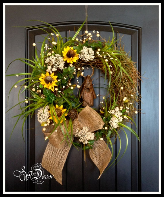 Summer Wreaths Sunflower Rustic Wreaths Burlap Wreath Floral