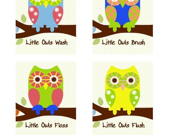 Owl Bathroom Decor 4 Piece Prints 8x10