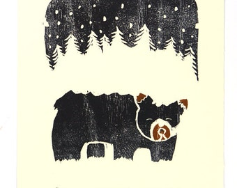 Art Under 25 - Woodcut of Snowy Bear - Original 8 x 10 Print - SALE - FREE SHIPPING