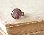 Real leaf ring - brown woodland ring with crystal resin - forest Siberian pear
