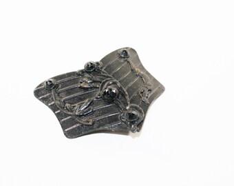 1800s brass dress buckle belt sash black enamel washed stamped shield French jet flower floral