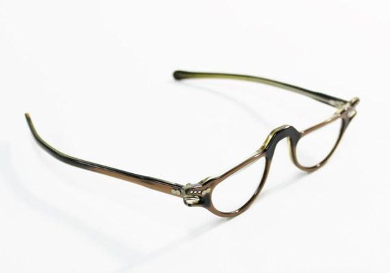 1950s eye glasses brown pearl lucite rhinestone half moon horn