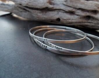 Sterling silver jewelry,  Personalized sterling silver bangle bracelet, Mothers bracelet, Couples bracelet, Secret message