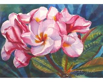 Pink Plumeria Original Watercolor Hawaii Tropical Flower Painting 5x7 Art by Janet Zeh