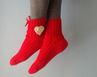 Red Slipper Socks, Lacing Slippers for Women, Love Heart Socks