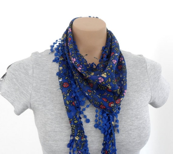 Cotton Blue Scarf,  Floral Scarf,  Summer Scarf, Womens Scarf Scarves