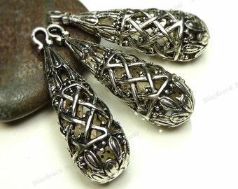 2 Hollow Metal Teardrop Pendants 38x12mm Antique Silver Tone Metal - Large Beads, Charms, Drops - BM4