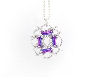 Purple Pendant, Chain Maille Pendant, Violet and Purple Necklace, Jump Ring Jewelry