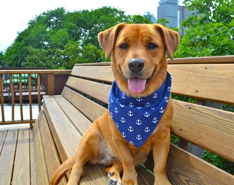 No tie dog bandana - Anchors away - Goes over collar  - navy nautical anchors - Small Medium Large