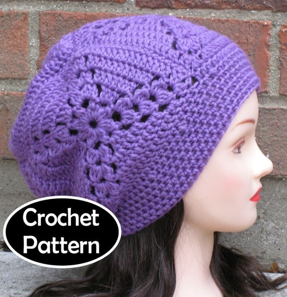 Crochet Granny Square Hat Pattern Free : CROCHET HAT PATTERN Pdf Instant Download Lydia Slouchy
