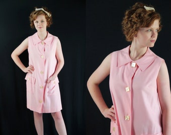 60s Dress Mod, Twiggy Shift Dress Pink Lori Till