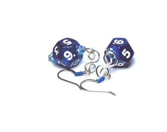 Blue Pearl D12 Dice Earrings with Blue Swarovski crystals