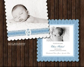 INSTANT Download PSD Luxe 5x5 Birth Announcement Card Template - B24