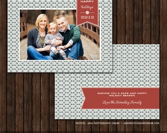 5x7 Modern Christmas / Holiday Card Template - H19