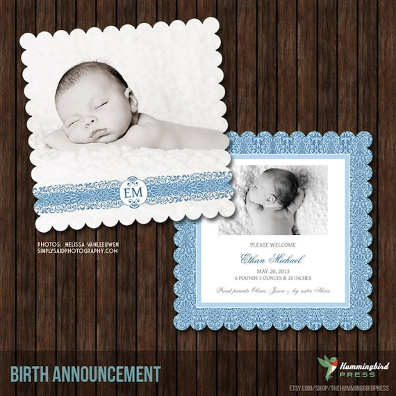 Luxe 5x5 Birth Announcement Card Template - B24