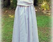 Gunne Sax Dress Purple and White stripe satin strapless 1980's party prom dress- Sale!