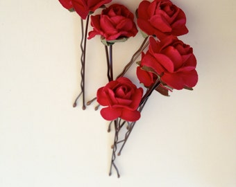 AMORE | Hair Clips  Red Rose Bobby Pins, Romantic Bridal Hair Accessory, Custom Color