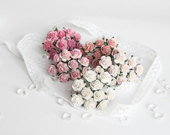 50 pcs - Shades of pink paper rose / 1.5 cm roses / mulberry paper roses